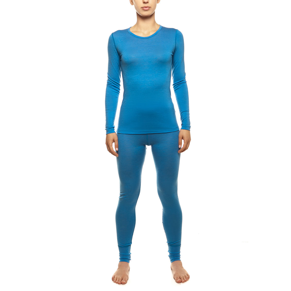menique Women's Merino 160 Long Sleeve Set Light Blue Color