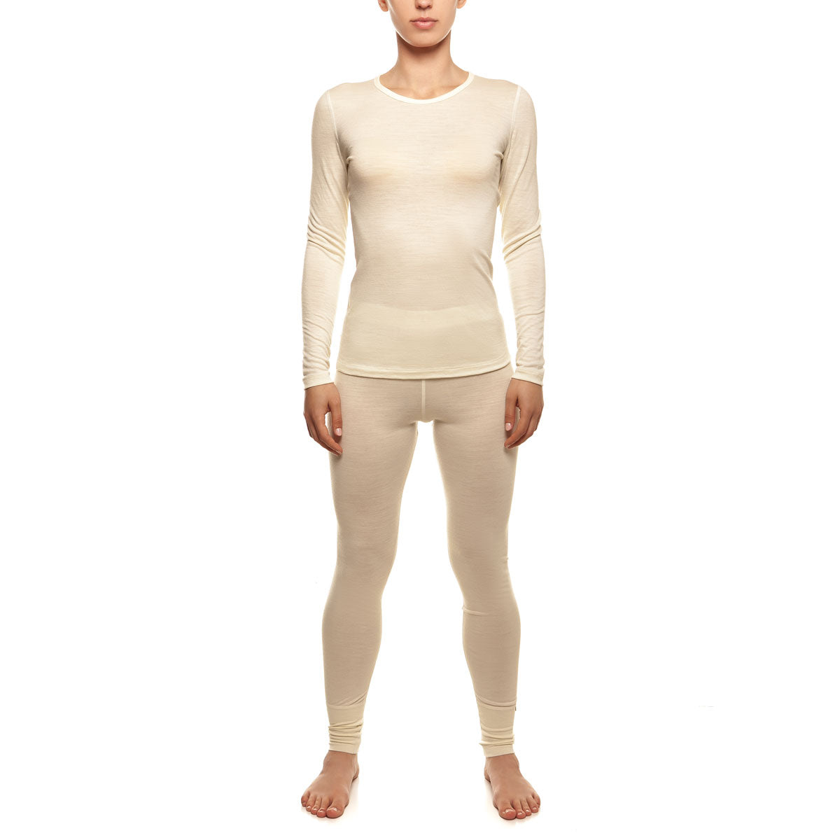 menique Women's Merino 160 Long Sleeve Set Natural Color