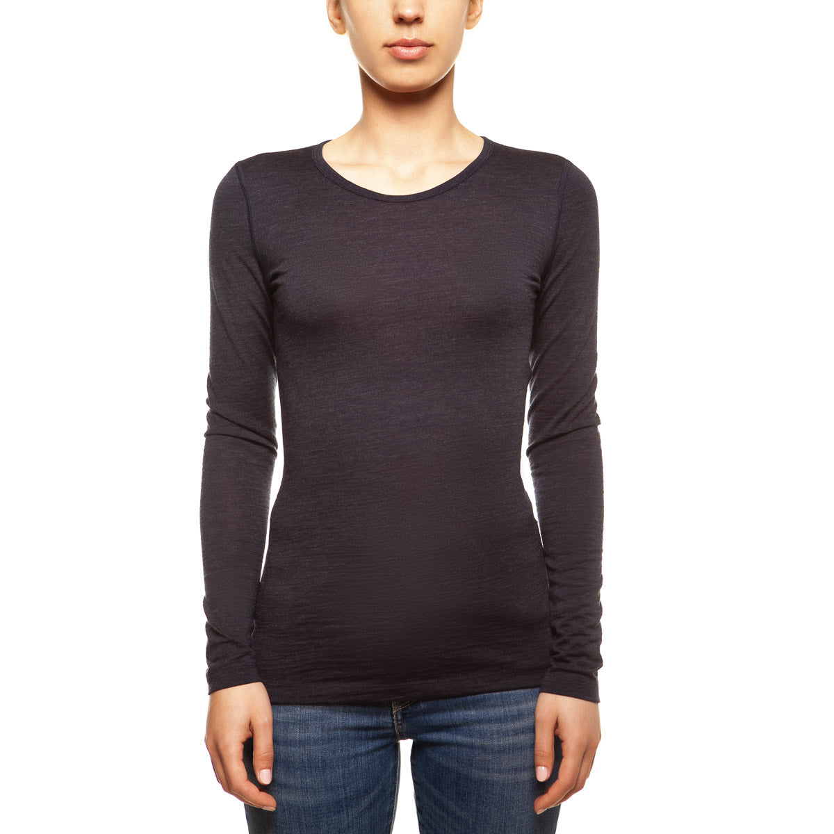 menique Women's Merino 160 Long Sleeve Crew Blue Melange Color