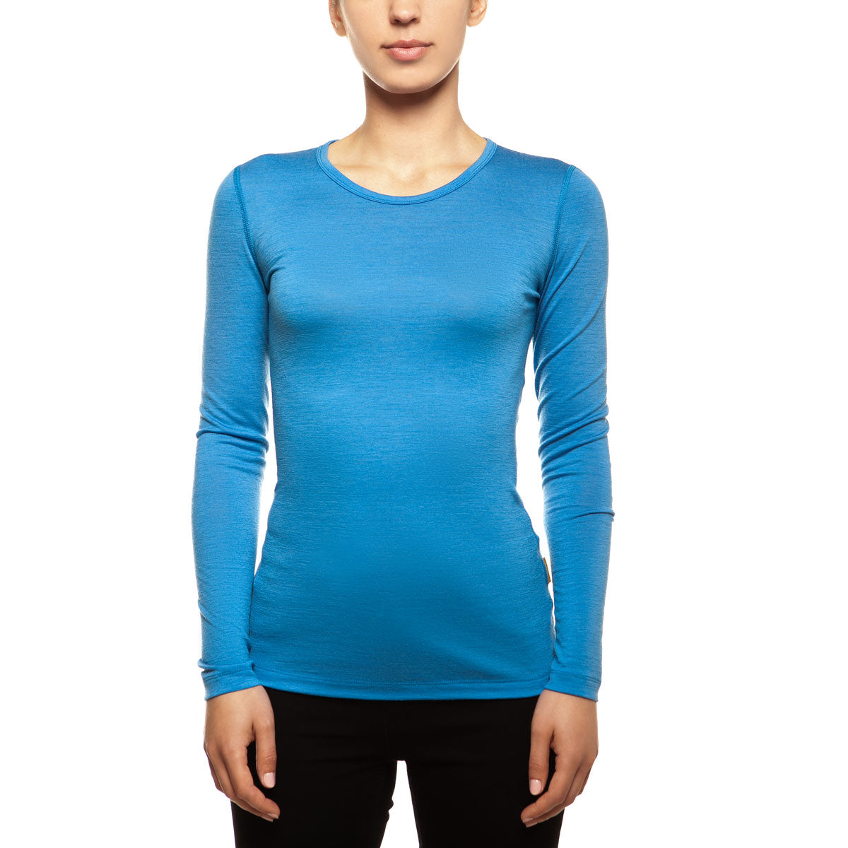 menique Women's Merino 160 Long Sleeve Crew Light Blue Color