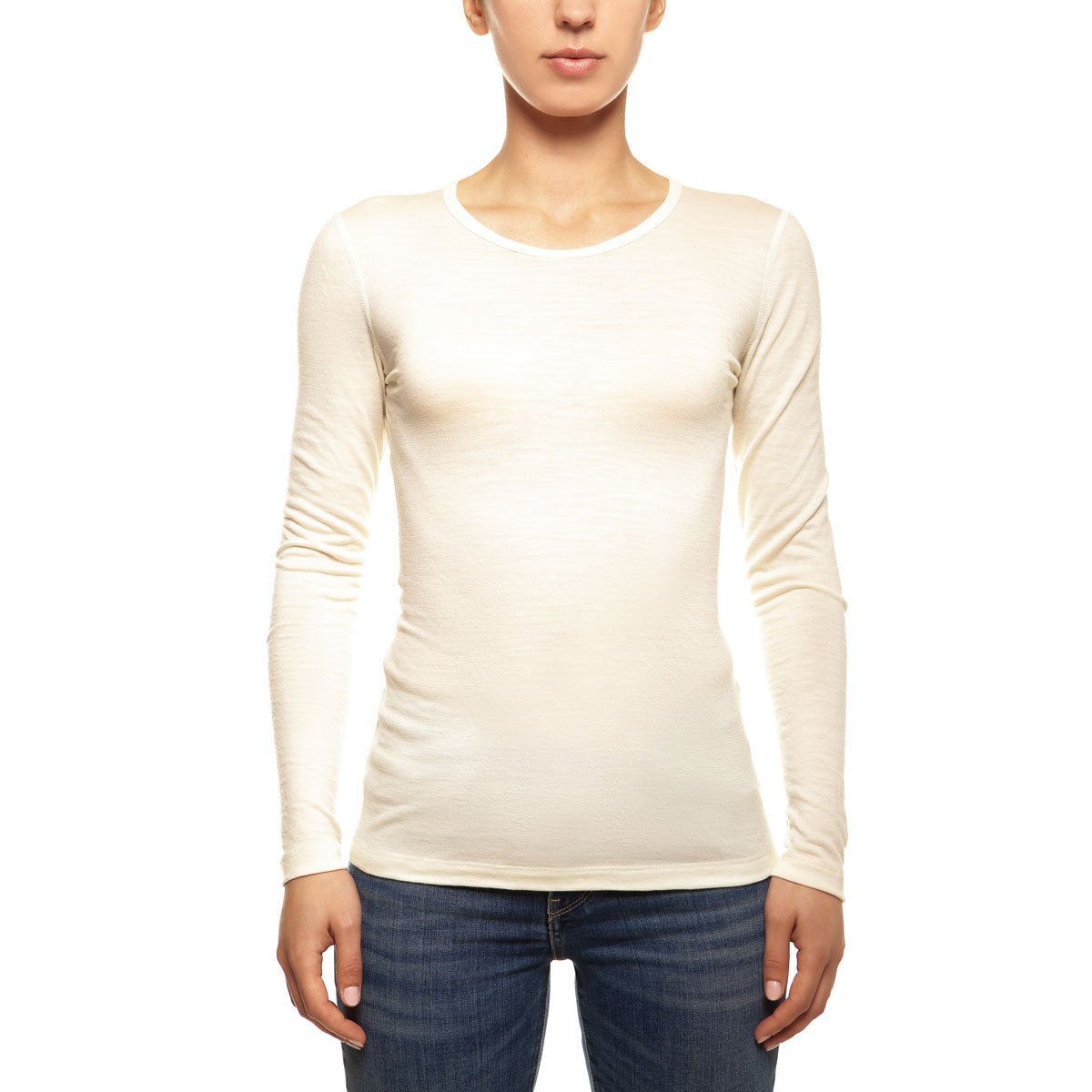 menique Women's Merino 160 Long Sleeve Crew Natural Color