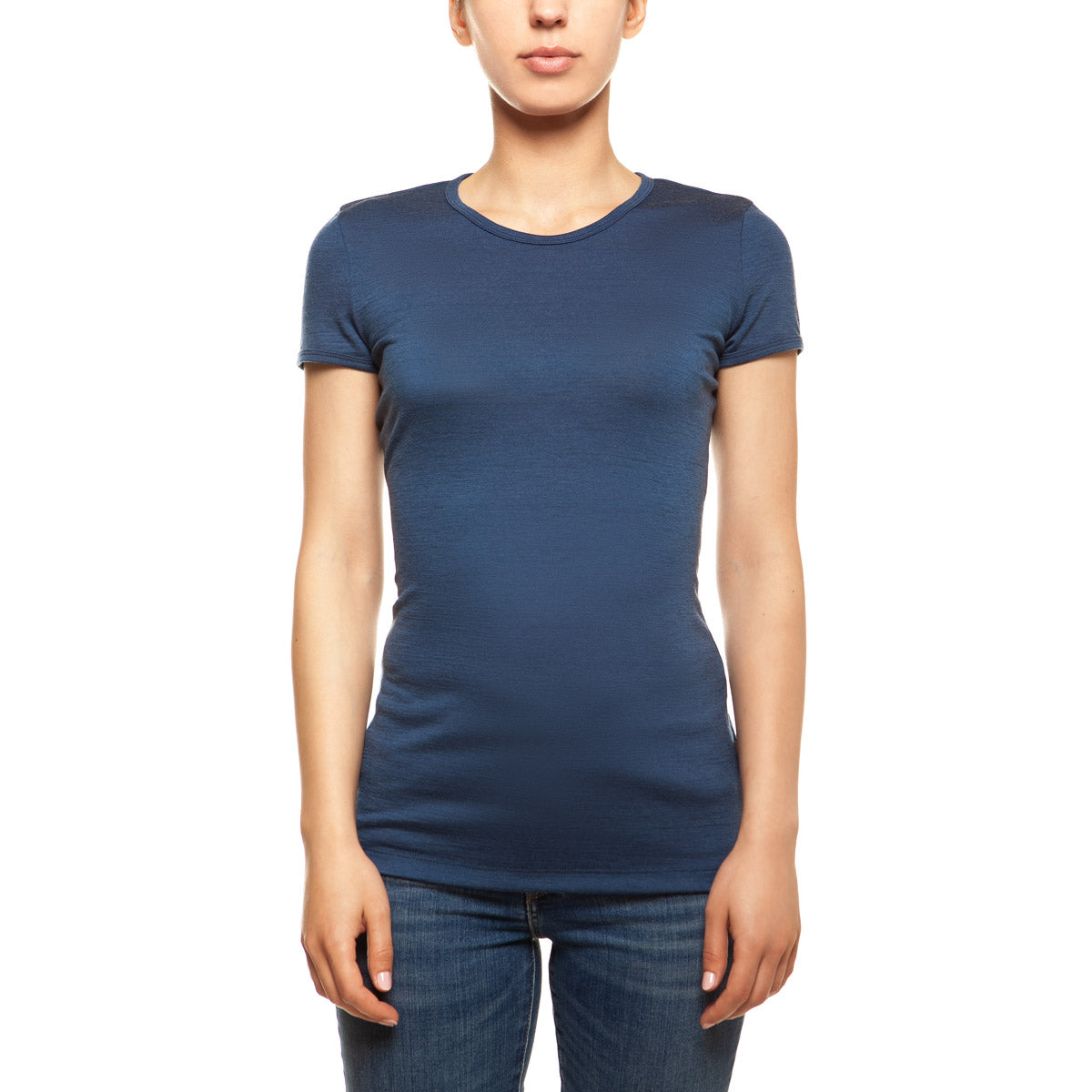 menique Women's Merino 160 Short Sleeve Crew Denim Color
