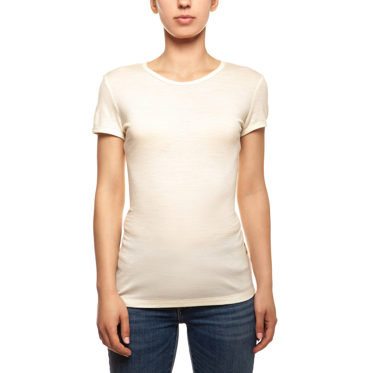 menique Women's Merino 160 Short Sleeve Crew Natural Color