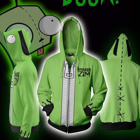 Invader Zim Hoodies GIR Costume Zip Up Hoodie