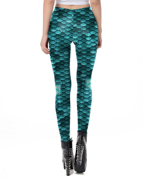 Blue Fish Scale With Fins Print Mermaid Leggings