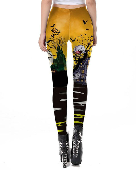 Halloween Pumpkin House Escape Orange Black High Waist Leggings