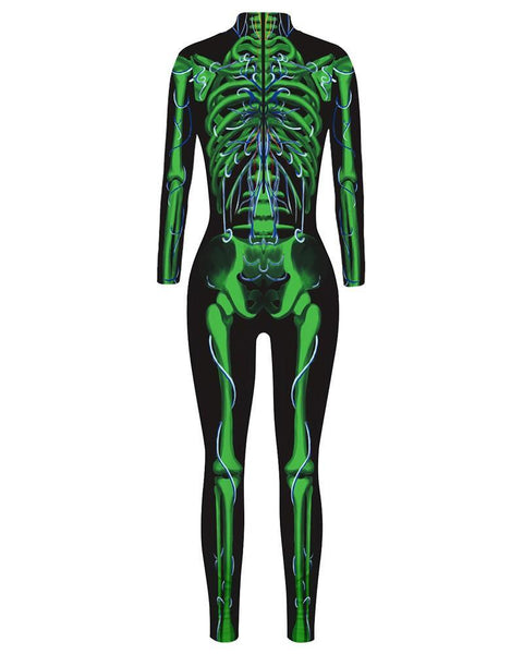 Adult Womens Green Skeleton Floral Black Full Bodysuit Catsuit Costume