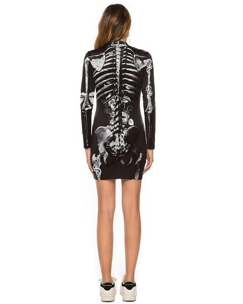 Black Diamond Skeleton Rose Print Halloween Long Sleeve Dress