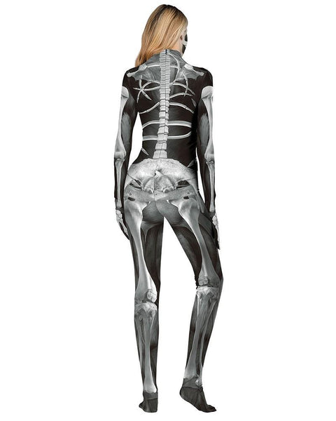 Halloween Scary Monster Skeleton Catsuit Full Body Bodysuit Costume
