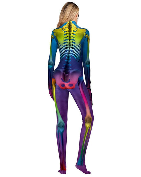 Colorful Skeleton Catsuit Full Body Bodysuit Halloween Costume