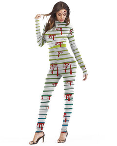 Stripe Splash Blood Catsuit Halloween Stretch Bodysuit Womens Costume