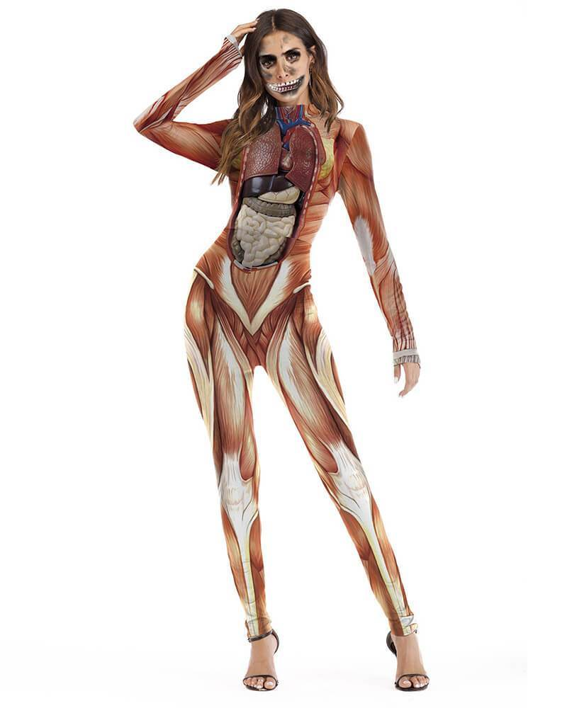 Organic Muscles Structure Print Halloween Stretch Catsuit Bodysuit