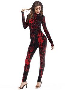 Fancy Blood Catsuit Bleeding Hands Bodysuit Womens Halloween Costume