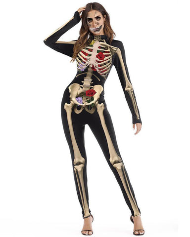 Black Skeleton Rose Bodysuit Womens Fancy Halloween Catsuit Costume
