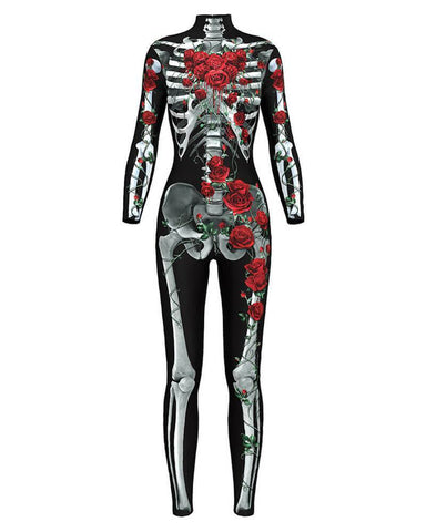 Scary Skeleton Rose Catsuit Fancy Womens Halloween Bodysuit Costume