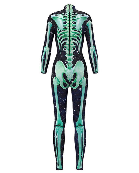 Scary Skeleton Print Bodysuit Fancy Catsuit Womens Halloween Costume