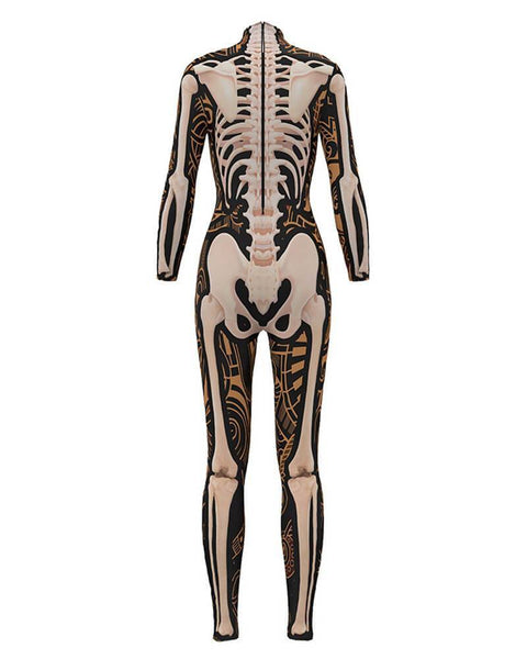 Womens Fancy Skeleton Print Bodysuit Catsuit Scary Halloween Costume