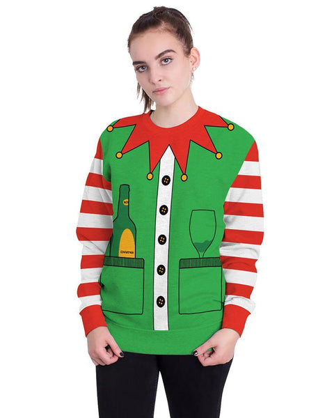 Christmas Elf Printed Funny Design Green Pullover Sweatshirt