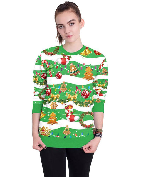 Striped Merry Christmas Elements Green Loose Pullover Sweatshirt