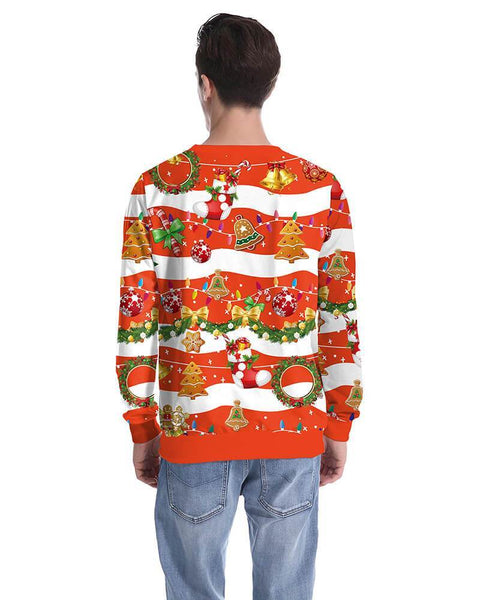 Merry Christmas Elements Printed Red Funny Design Pullover Sweatshirt