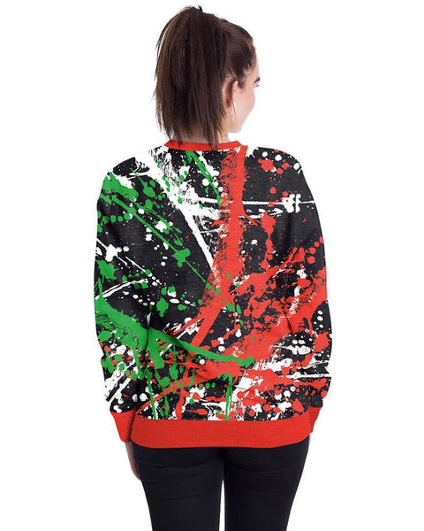 Funny Design Christmas Graffiti Printed Black Red Pullover Sweatshirt
