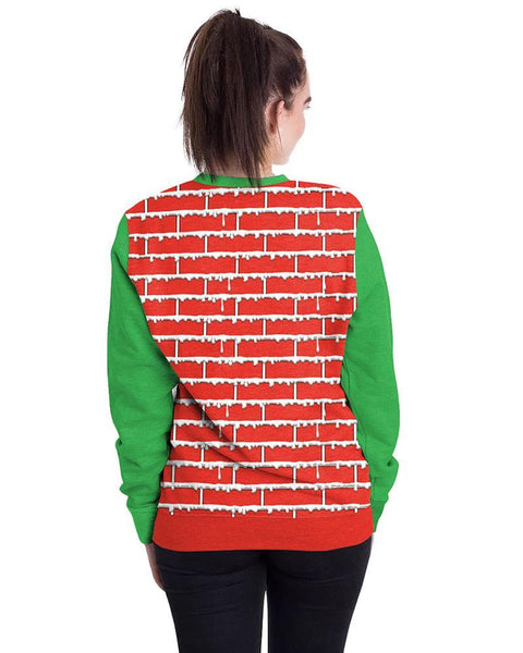 Christmas Decorated Fireplace Ugly Sweater Print Pullover Sweatshirt