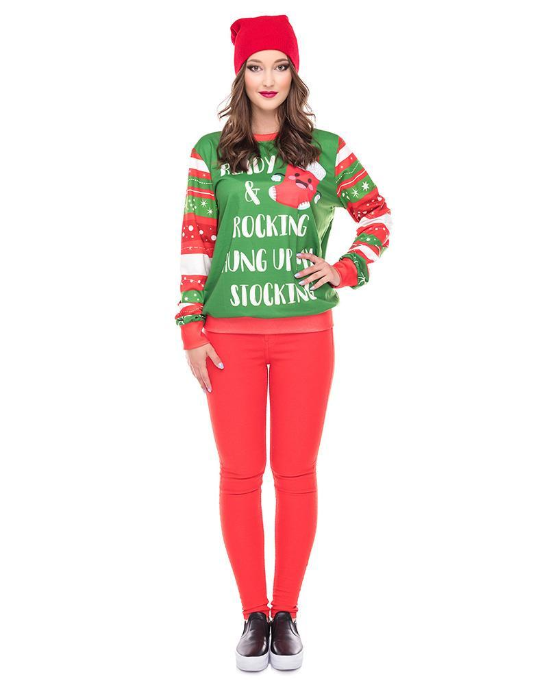 Ready Hand Up My Stocking For Christmas Printed Pullover Sweatshirt