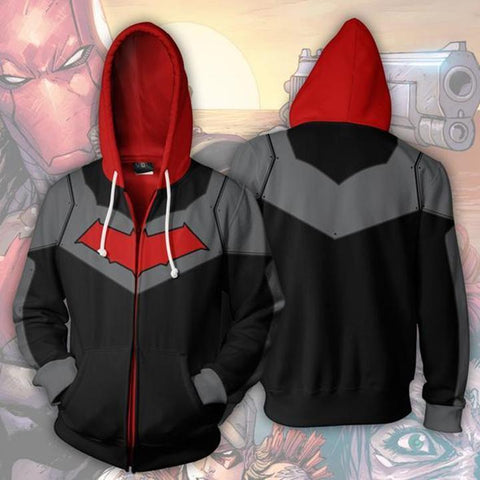 Batman Hoodies Red Hood Zip Up Hoodie