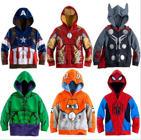 Boys Hoodies Superhero Iron Man Thor Hulk Captain America Spiderman Sweatshirt for Kids 3-8T