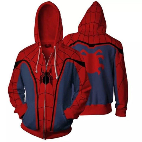 Spider-Man:Homecoming Men Casual Hooded Unisex Sweatshirts Coat Jacket Zipper Hoodie