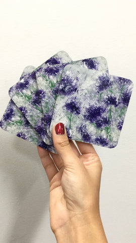 Arna Girl Coasters ~ Purple Flower