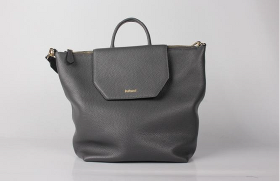 Grey Leather bag with top handle