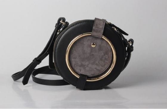 leather round drum bag in Black/Grey