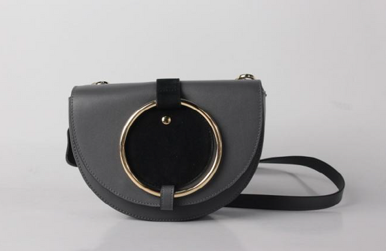 leather saddle bag in Black/Grey