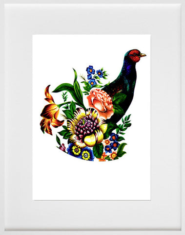 Pheasant and flowers