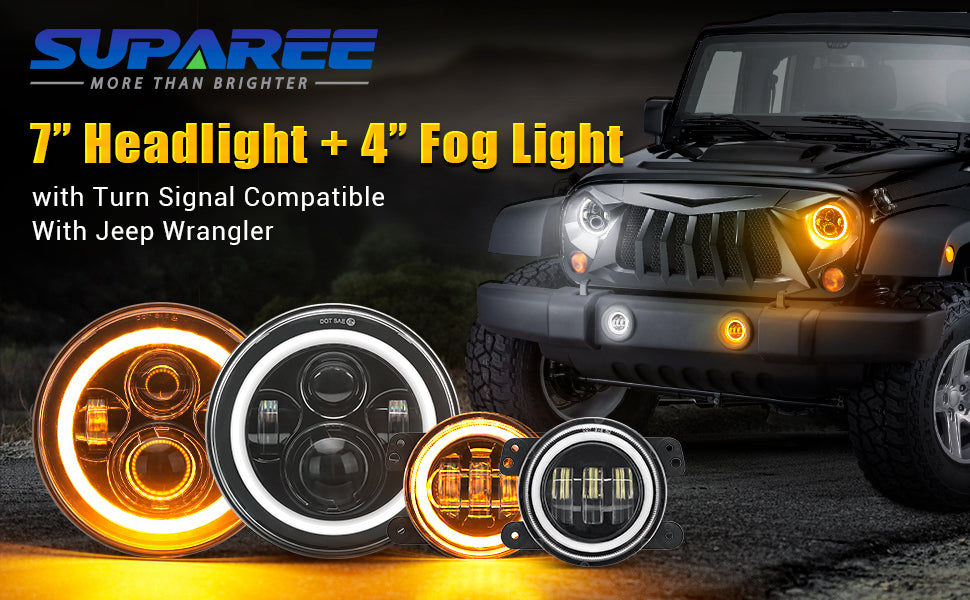 "SUPAREE 7"" halo headlight with 4""halo fog lights combo for Jeep"