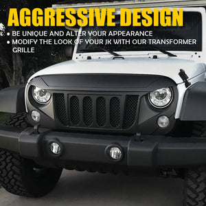 Transformer Grille with Built-In Mesh for Jeep Wrangler JK 2007-2018
