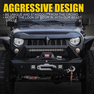 Beast Grille with Removeable Steel Mesh for Jeep Wrangler JK 2007-2018