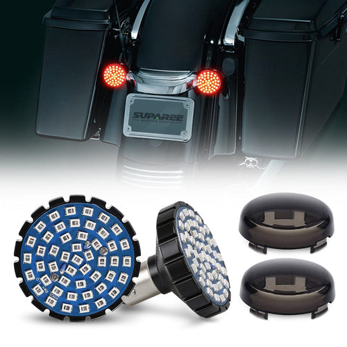 2pcs 1157 Red Rear LED Turn Signal & Brake Lights + Smoke Lens Cover For Motorcycles