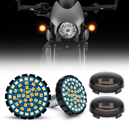 2pcs 1157 Front or Rear LED Turn Signal Lights + Smoke Lens Cover For Motorcycles