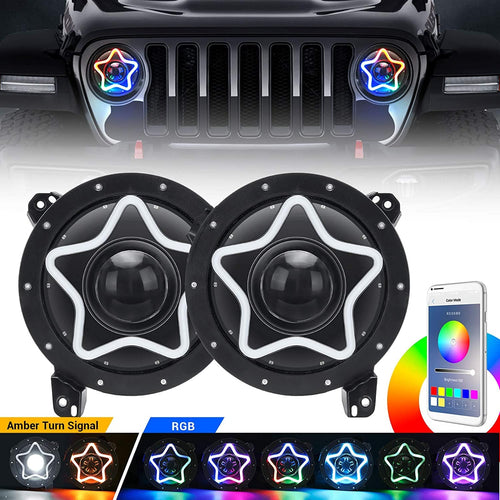 JL RGB Headlight, 7 Inch Headlights with JL Headlight Mounting Bracket Adapters Compatible with 2020+ Jeep Gladiator JT 2018-2020 Wrangler JL JLU Sahara Rubicon