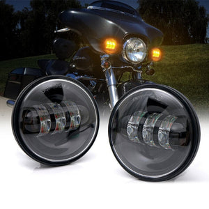 7inch Hi/Lo Beam LED Headlights with DRL Amber Turn Signal + 4.5inch CREE LED Passing Fog Light