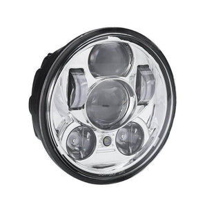 "Black Chrome 5.75 inch Motorcycle LED Headlights 5-3/4"" Headlamp with Parking Lights"