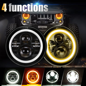 SUPAREE LED Halo Headlights with DRL and Amber Turn Signal For Jeep Wrangler TJ,JK,lj