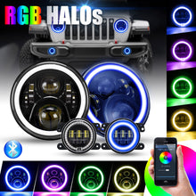 "Load image into Gallery viewer, 7"" LED Headlamp + 4"" RGB Fog Lights"