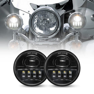 "2pcs 4-1/2"" 4.5inch LED Motorcycle Fog Lights Spot Driving Lamps Auxiliary Light Bulbs"