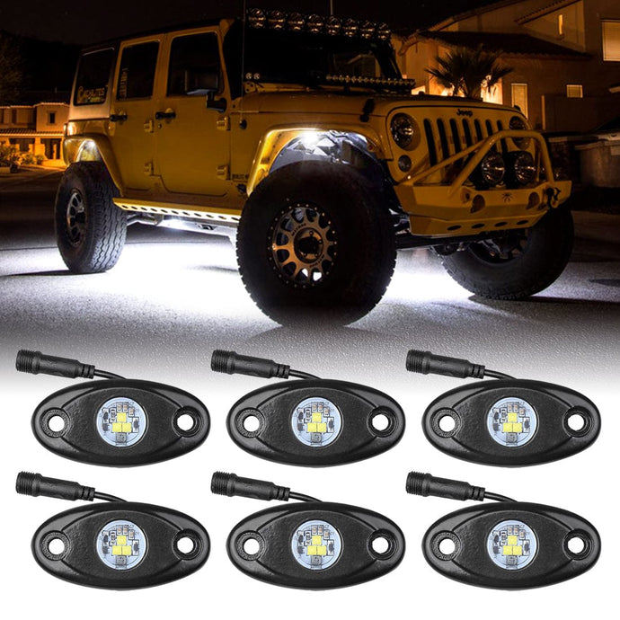 6pcs Pods Lights LED Rock Lights White Kit for Jeep Off Road Truck Boat ATV SUV