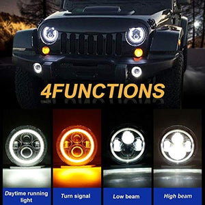 7 Inch Cree LED Headlights with White Halo Ring Angel Eyes+Amber Turn Signal Halo