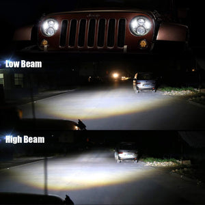 "7"" LED Headlight With RGB Halos Bluetooth Control Lamp For Jeep Wrangler JK/TJ/LJ/JL & Gladiator JT"