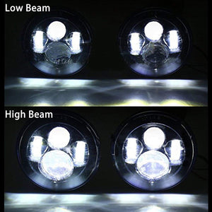 "7"" Round CREE LED Headlights H4 H13 Projection Headlight Kit"